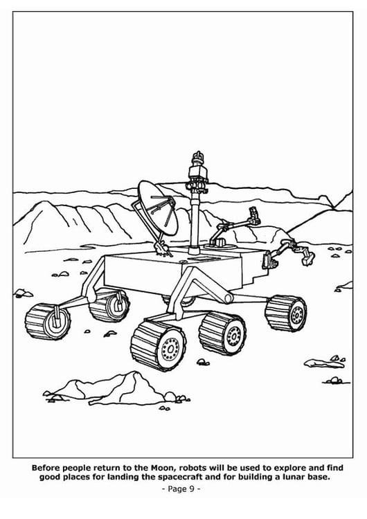Dibujo Para Colorear Robots Descubriendo La Luna Img 4202