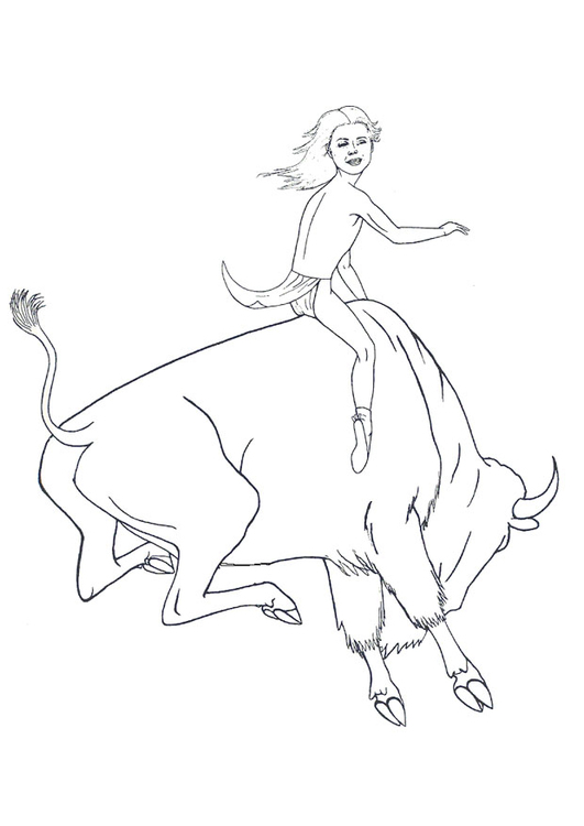Dibujo para colorear Rodeo con bisonte - Img 9913