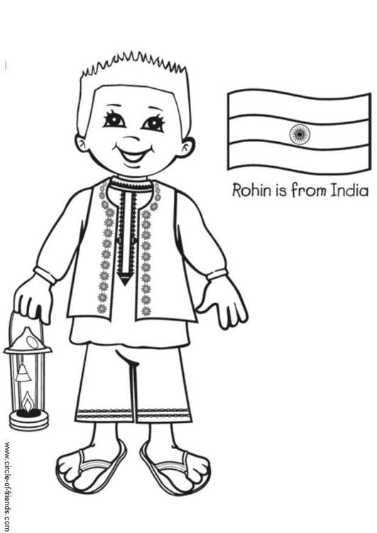 Dibujo para colorear Rohin con la bandera de India  Img 5649