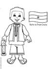 Dibujo para colorear Rohin con la bandera de India