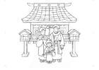 Dibujo para colorear ropa tradicional de Japón