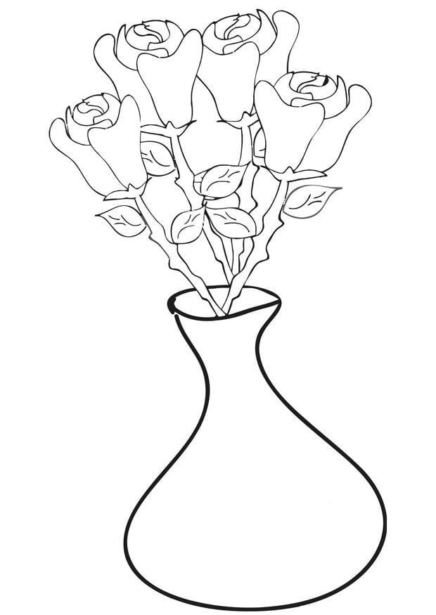 Dibujo para colorear rosas en jarr n img 21270 for Disegno vaso da colorare