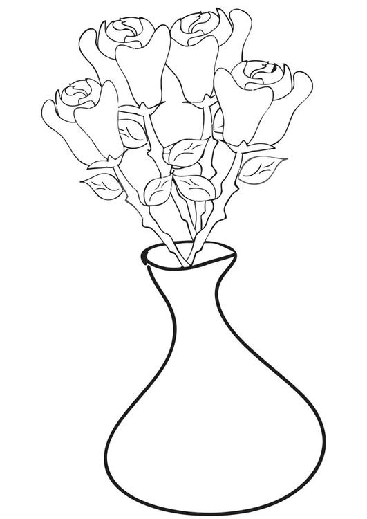 Dibujo para colorear rosas en jarrón - Img 21332