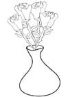 Dibujo para colorear rosas en jarrón