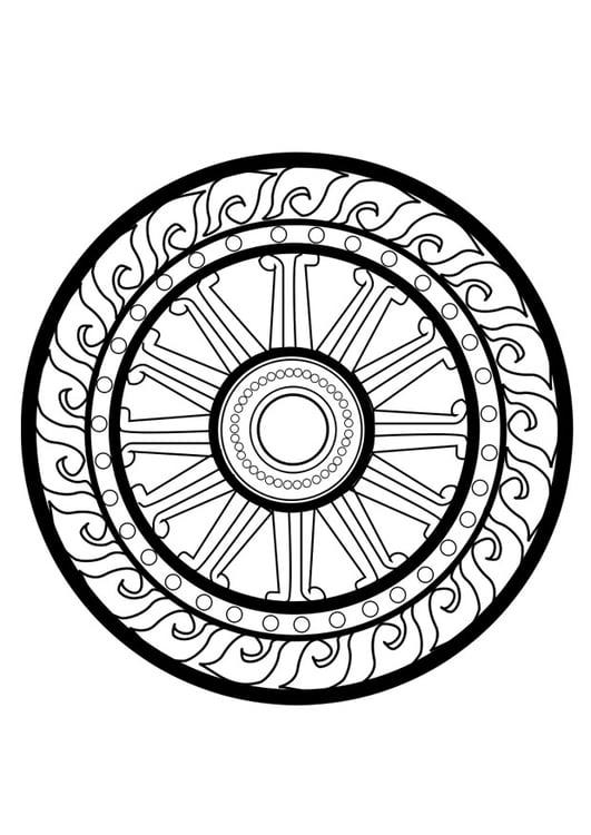 Dibujo para colorear rueda dharma - Img 25627