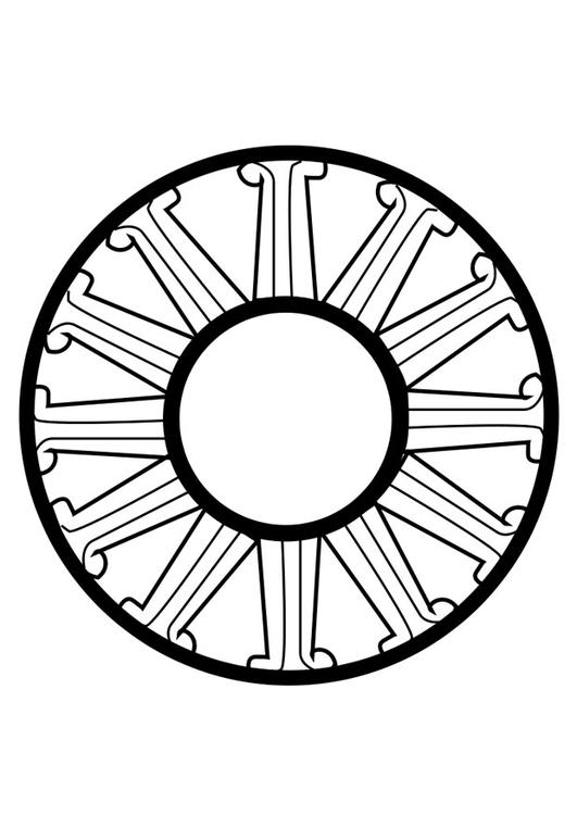 Dibujo para colorear rueda dharma   Img 25632