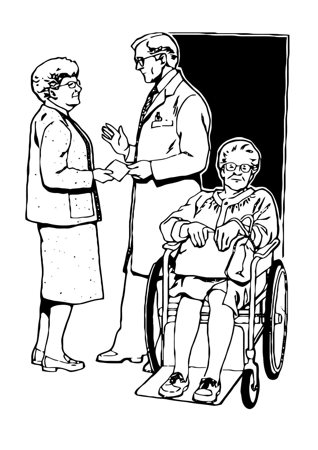 Dibujo para colorear Saliendo del hospital - Img 11875