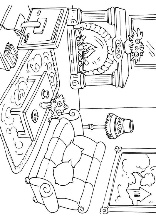 coloring pages simple living room - photo#27