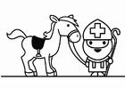 Dibujo para colorear San Nicolás con caballo
