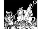 Dibujo para colorear San Nicolás con Zwarte Piet