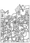 Dibujo para colorear San Nicolás y los Zwarte Pieten