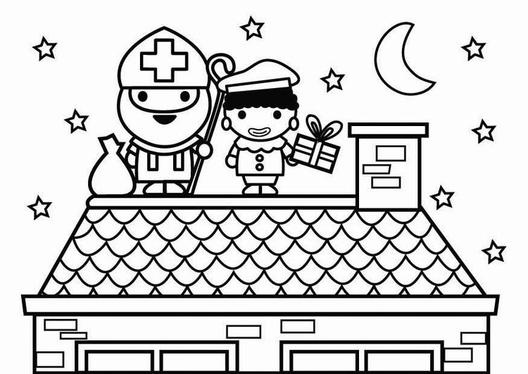 Dibujo para colorear san nicol s y piet en el tejado img - Dibujos de tejados ...