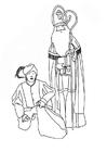 Dibujo para colorear San Nicolás y Zwarte Piet