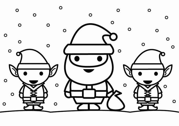 Dibujo para colorear Santa Claus con elfos - Img 26444
