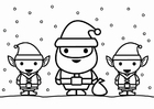 Dibujo para colorear Santa Claus con elfos
