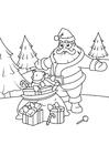 Dibujo para colorear santa claus con paquetes