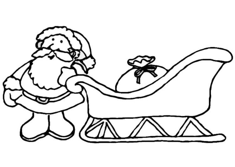 Dibujo para colorear Santa Claus con trineo - Img 8657