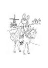 Dibujo para colorear Santa en su caballo