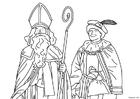 Dibujo para colorear Santa y Piet