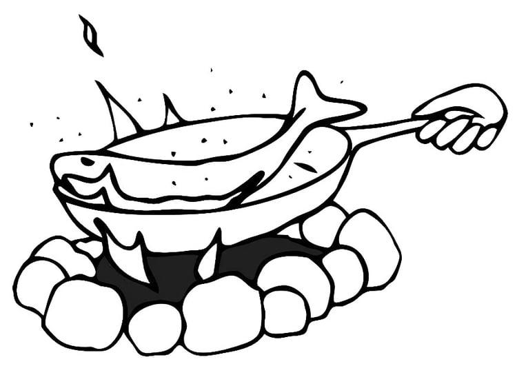 Dibujo Para Colorear Sartén Pescado Frito Dibujos Para