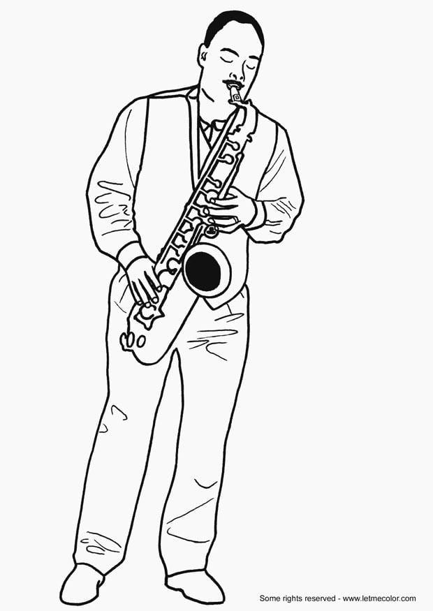 Dibujo Para Colorear Saxofonista Dibujos Para Imprimir Gratis