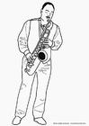 Dibujo para colorear Saxofonista