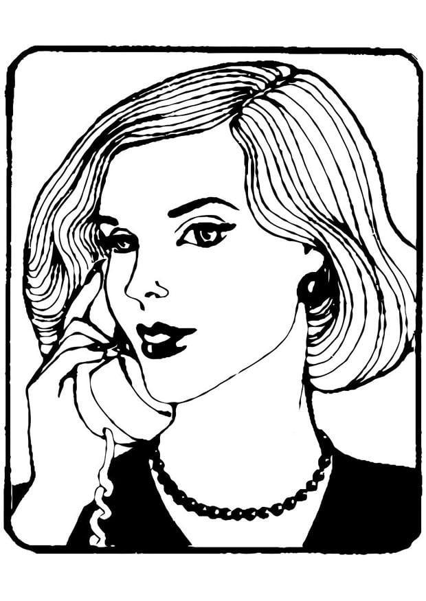 Dibujo para colorear secretaria  Img 21697
