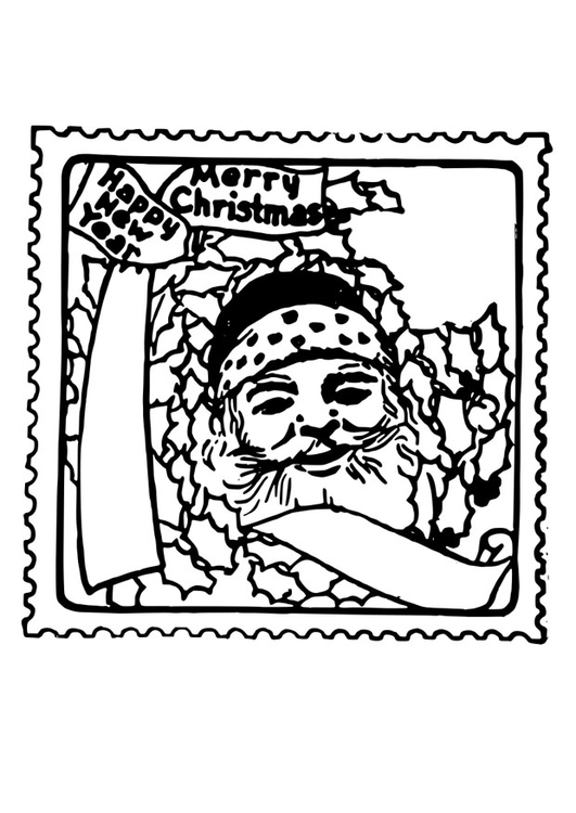 Dibujo para colorear sello de Navidad - Img 26398