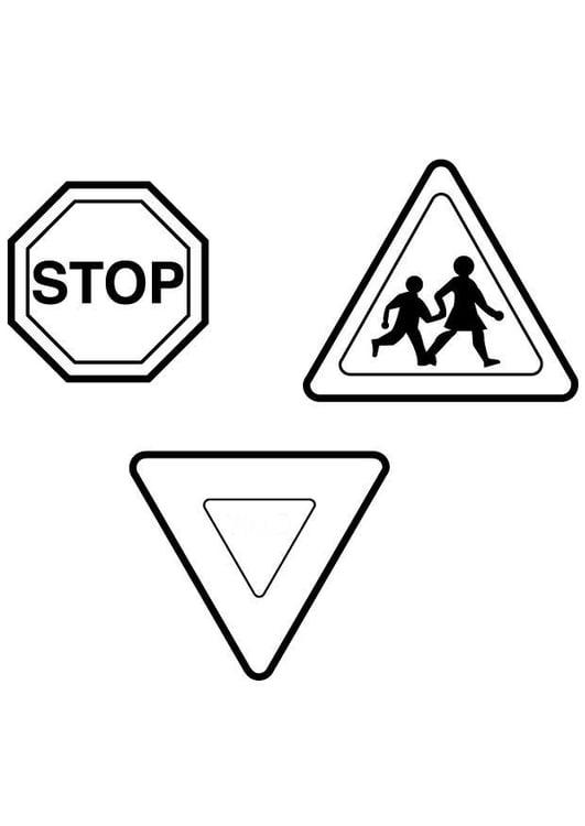 Dibujo para colorear Señales de tráfico - Img 7112