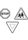Dibujo para colorear Señales de tráfico