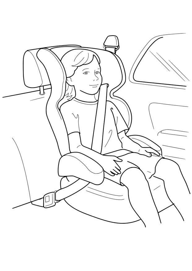 dibujo para colorear silla de coche