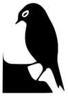 Dibujo para colorear silueta de pájaro