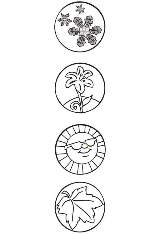 Dibujo para colorear Símbolos de las estaciones - Img 9510