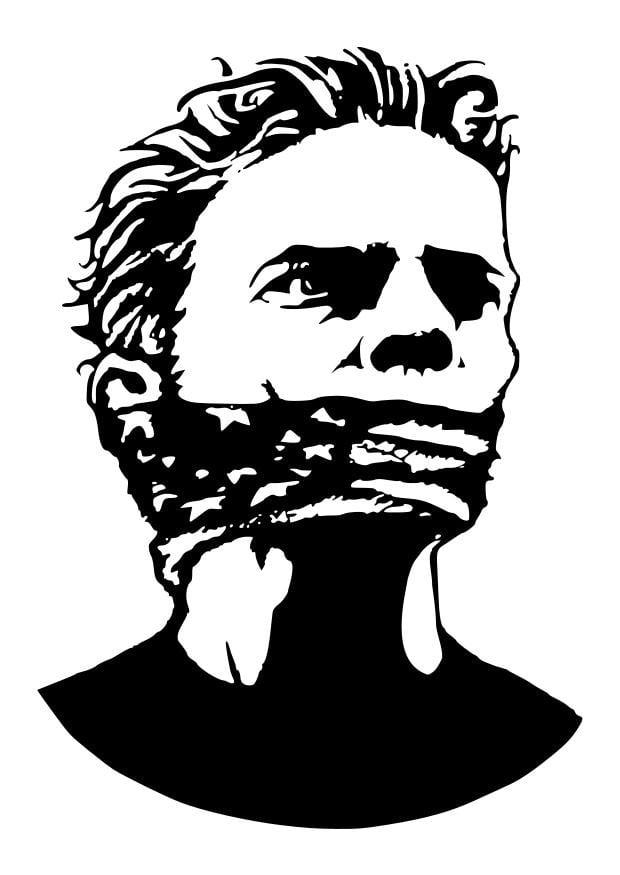 Dibujo para colorear sin libertad de expresión - Img 22739