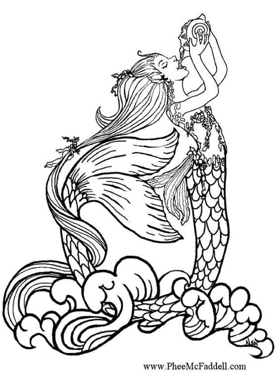 Dibujo para colorear Sirena bebe agua de lluvia - Img 6896