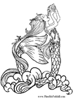 Dibujo para colorear Sirena bebe agua de lluvia