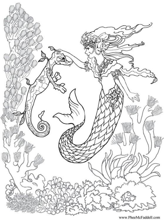 Dibujo para colorear Sirena con caballito de mar - Img 6881