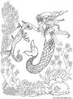 Dibujo para colorear Sirena con caballito de mar