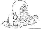 Dibujo para colorear Sirena con delfín