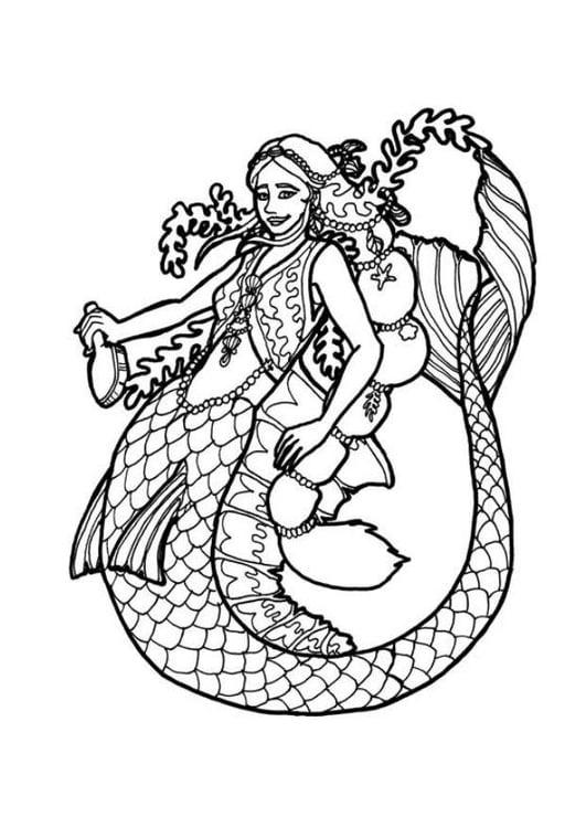 Dibujo para colorear Sirena - Img 7176