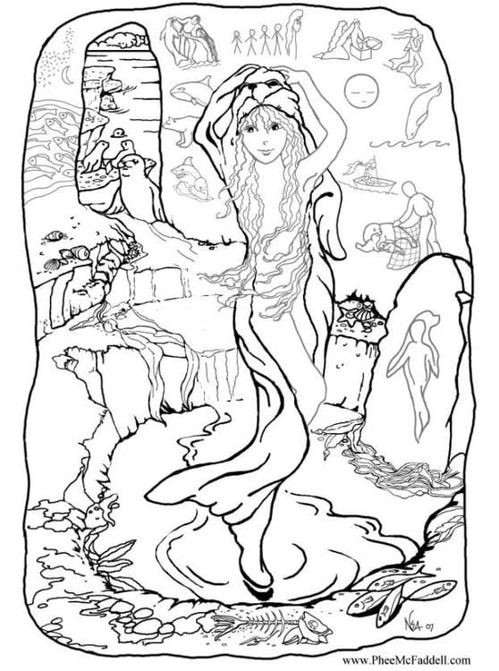 Dibujo para colorear Sirena en casa - Img 6885