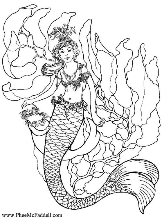 Dibujo Para Colorear Sirena En El Agua Dibujos Para Imprimir Gratis