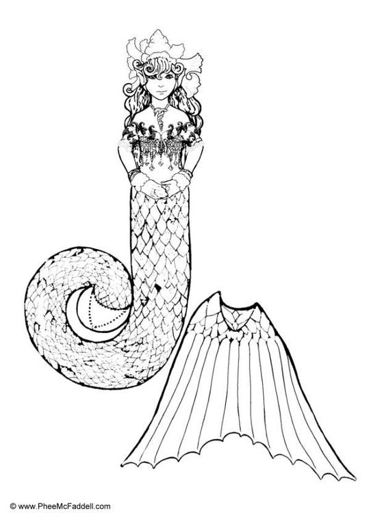 Dibujo para colorear Sirena en parte de silla - Img 6879