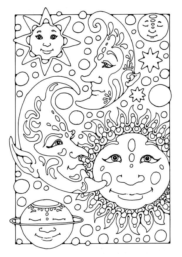 Dibujo Para Colorear Sol Luna Y Estrellas Dibujos Para