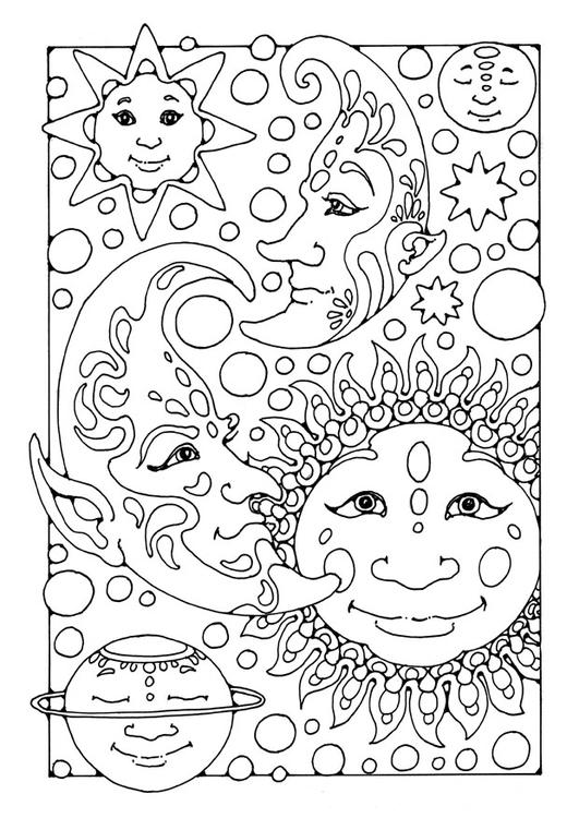 Dibujo para colorear sol, luna y estrellas - Img 25665