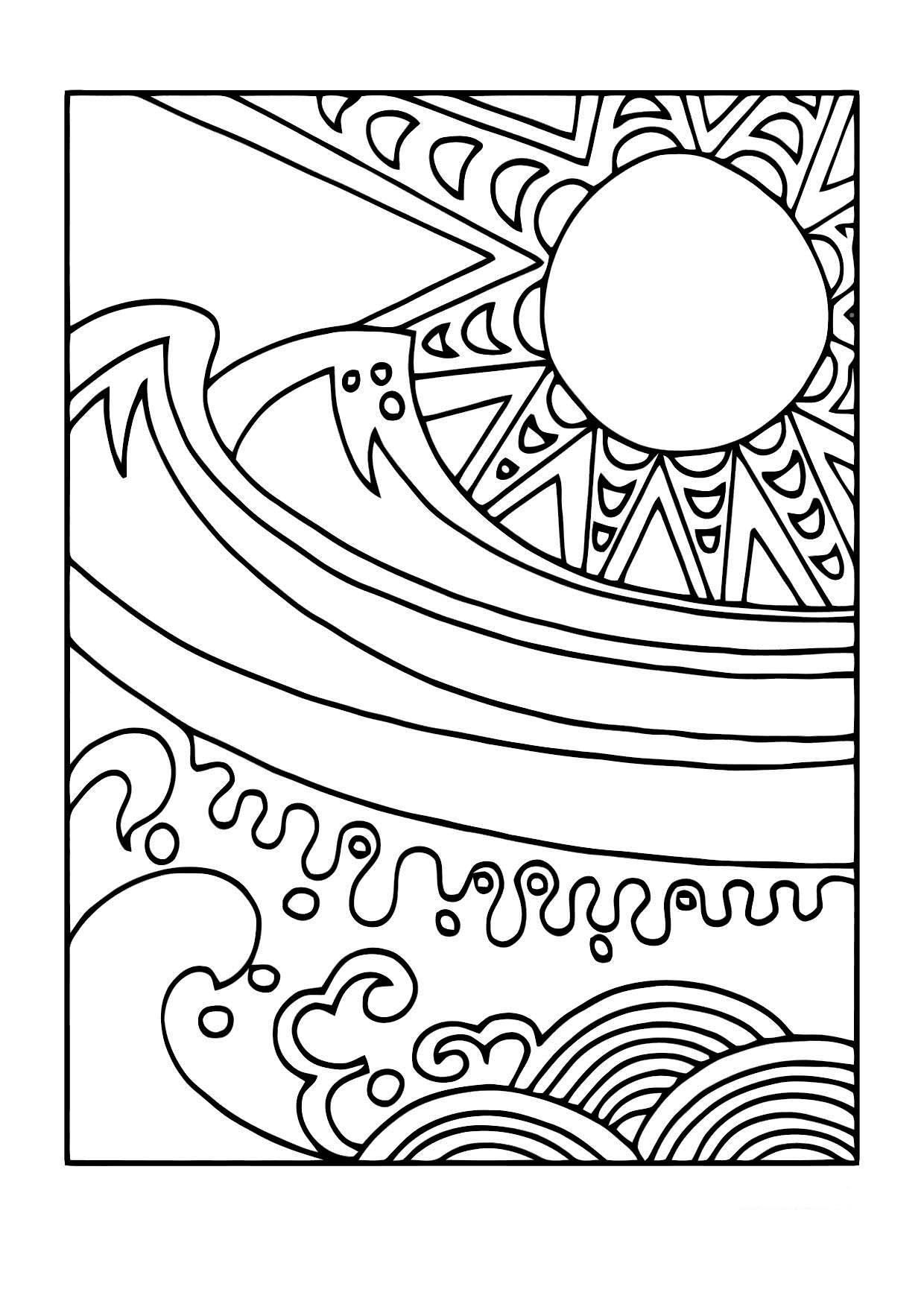Dibujo para colorear Sol y mar - Img 11440