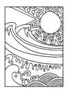 Dibujo para colorear Sol y mar
