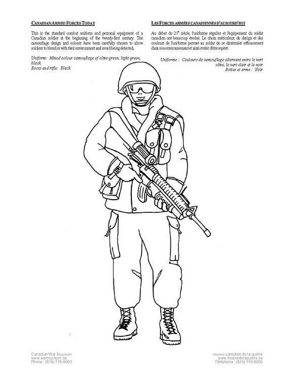 Dibujo para colorear Soldado canadiense actual - Img 4236