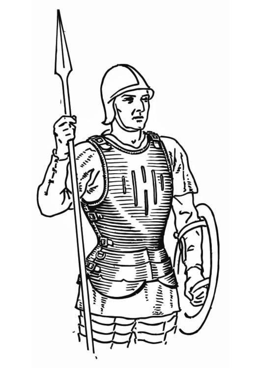 Dibujo Para Colorear Soldado Con Coraza Img 13263