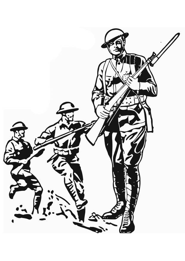 Dibujo para colorear Soldado de la primera guerra mundial  Img 12763